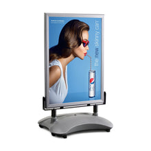 Load image into Gallery viewer, Silver sidewalk sign with sand/water-filled base for poster size 24X36 - 1.7 inch profile - Snap Frames Direct
