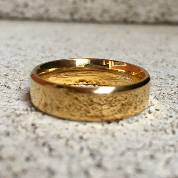 Polished Gold Stainless Steel Ring, 6mm