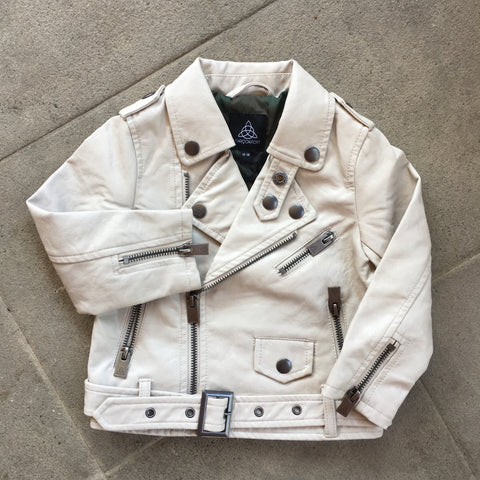 Vegan Leather Moto Jacket: Ivory