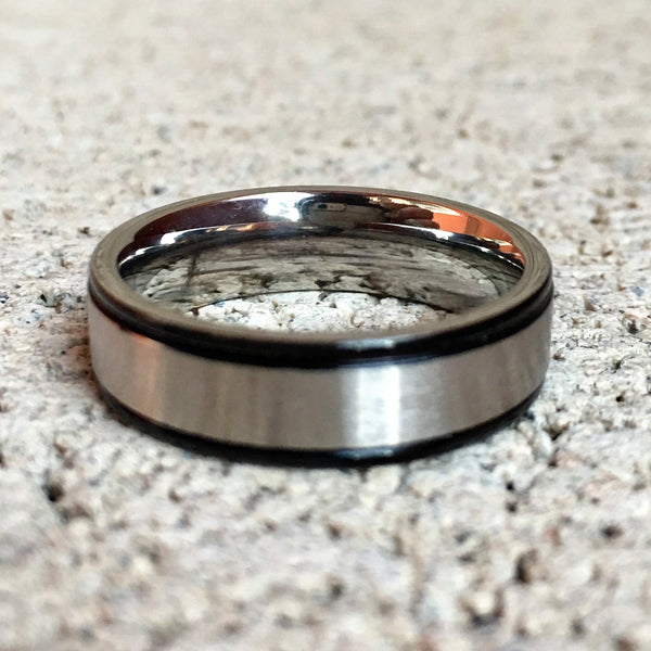 Stainless Steel Ring with Black Edges, 6mm