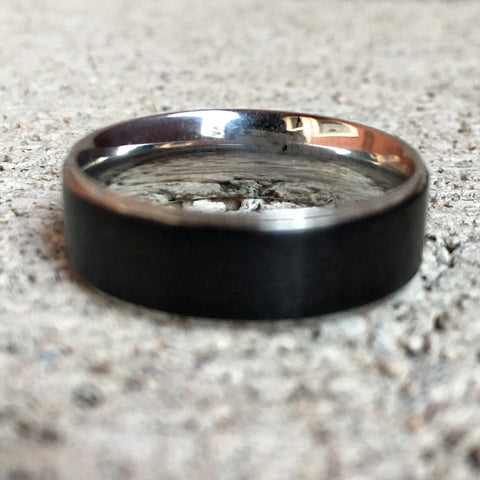 Black Stainless Steel Ring with Silver Edges, 7mm
