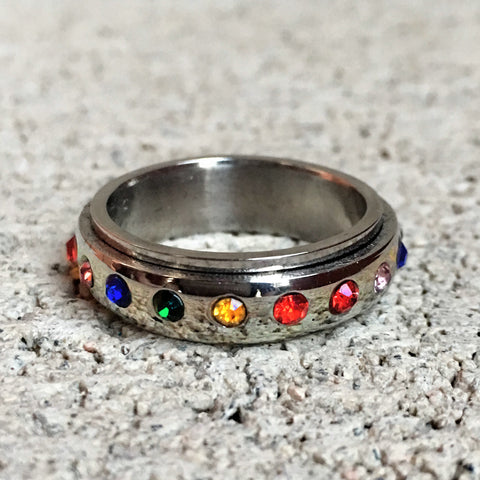 Rainbow Stones Spinner Ring