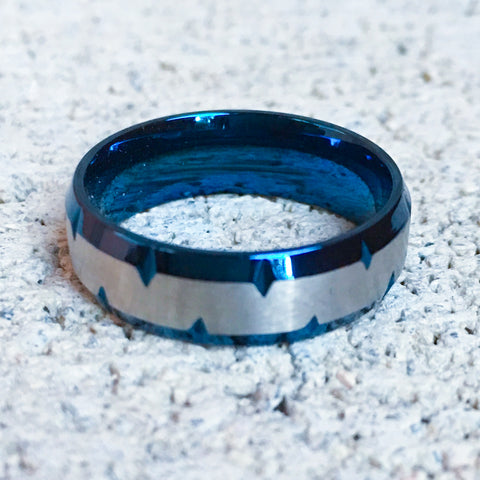 Stainless Steel Ring with Blue Spikey Edges