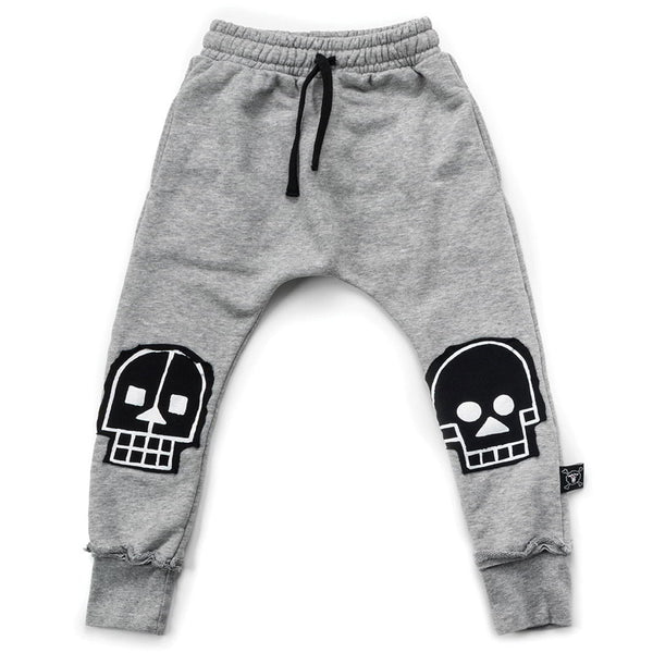 Skull Robot Patch Baggy Pants, Heather Grey