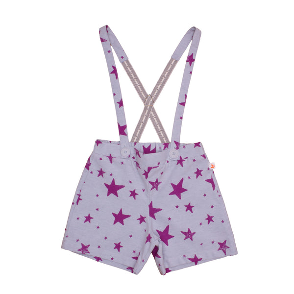 Girls Shorts w/ suspenders, Purple Stars