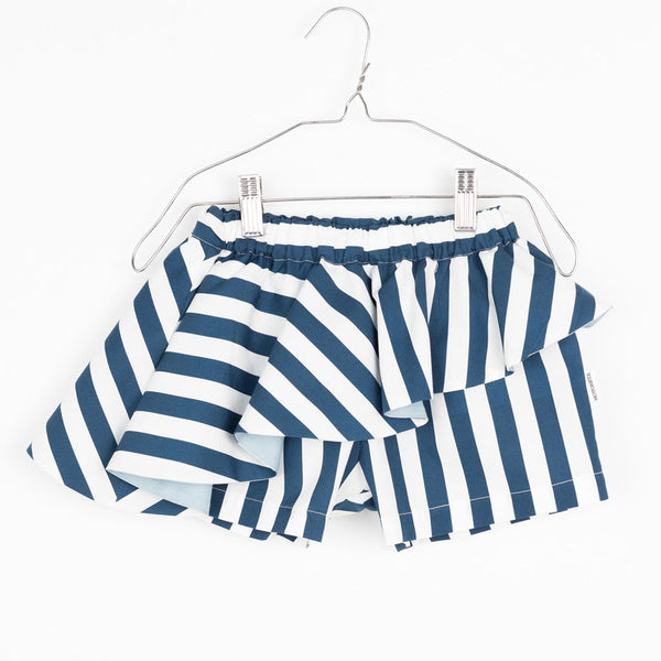 Abi Skort, Blue & White Stripes