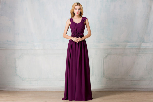 Cape-shoulder full-length chiffon bridesmaid dress