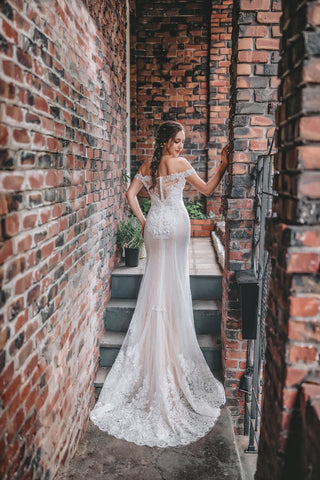Hailey - Selena Huan off-the-shoulder frosted Alençon lace illusive back mermaid gown