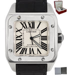 MINT Cartier Santos 100 XL 38mm Stainless Black Crocodile Watch 2656 W20121U2