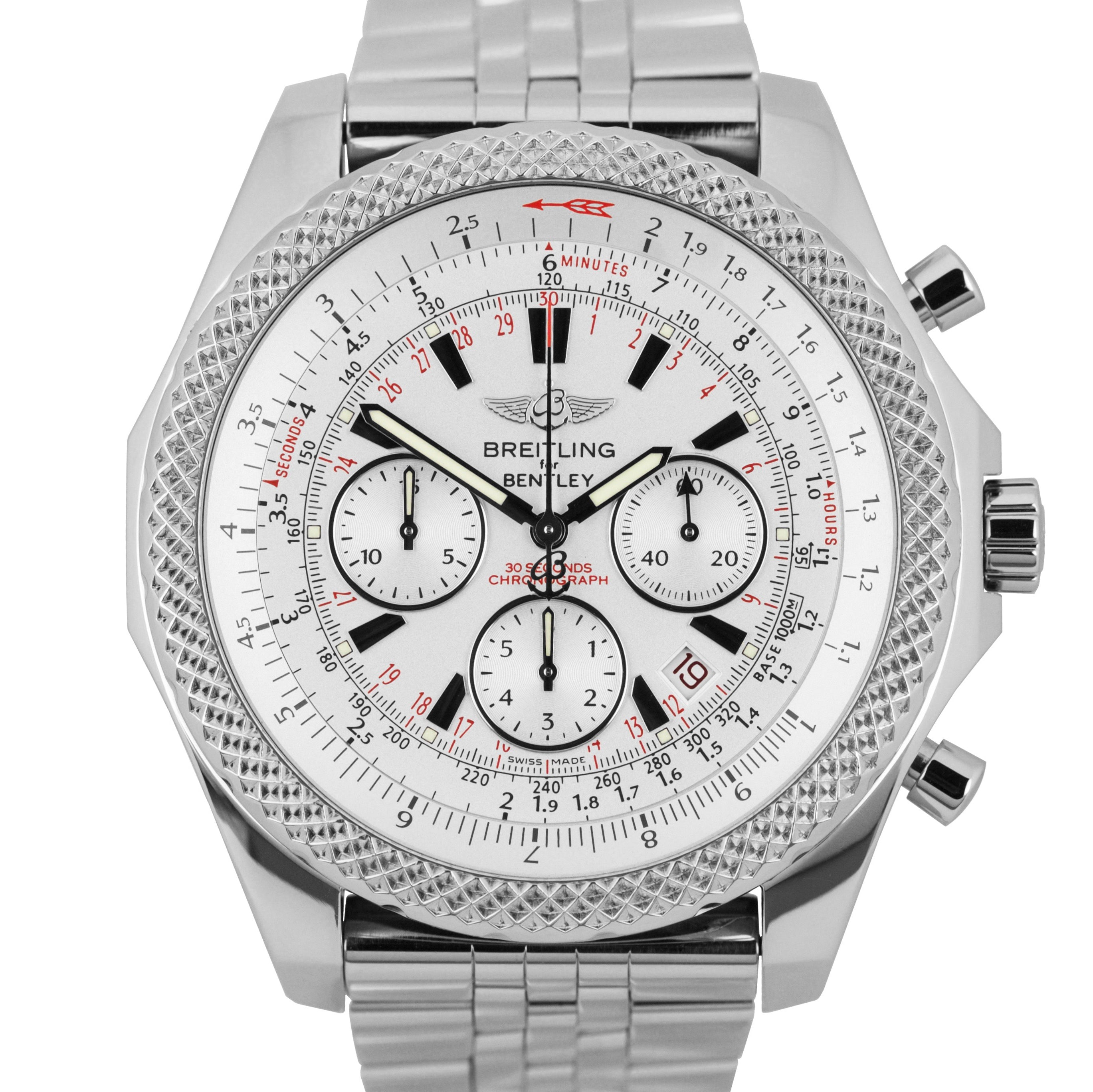 Breitling Bentley 48mm Stainless Steel Silver Chronograph Date Auto Watch A25364