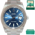 2016 Rolex Datejust 2 Blue Stick 41mm 18k White Gold Fluted Steel 116334 Watch