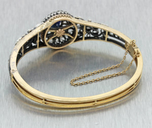 1880s Victorian 18k Gold Silver Unheated Cambodian Sapphire Diamond Bracelet GIA