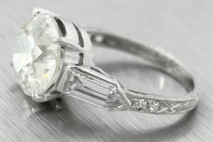 Antique Art Deco 1940s Estate 7.35ctw Diamond Platinum Engagement Ring EGL USA