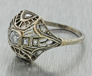 1930s Antique Art Deco Estate 10k Solid White Gold .25ct Diamond Filigree Ring