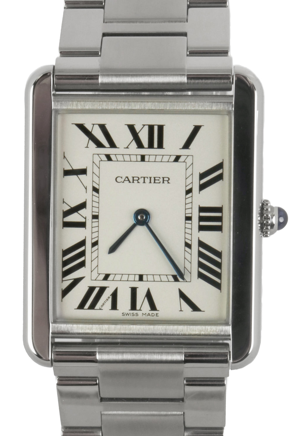 Ladies Cartier Tank Solo 3169 W5200014 Stainless White Roman Date Swiss Quartz