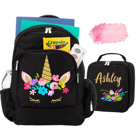 """Unicorn Girl"" Backpack + Lunchbag Personalized Set"