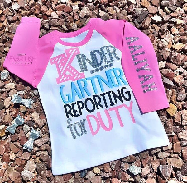 """Reporting for Duty"" (K - 6) Personalized 3/4 Sleeve Raglan"