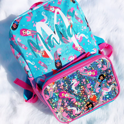 """Mermaid"" - PERSONALIZED 16"" Backpack W/ Lunch Kit"