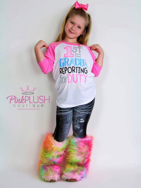 """Reporting for Duty"" (K - 6) Personalized 3/4 Sleeve Raglan - Pink Plush Boutique"