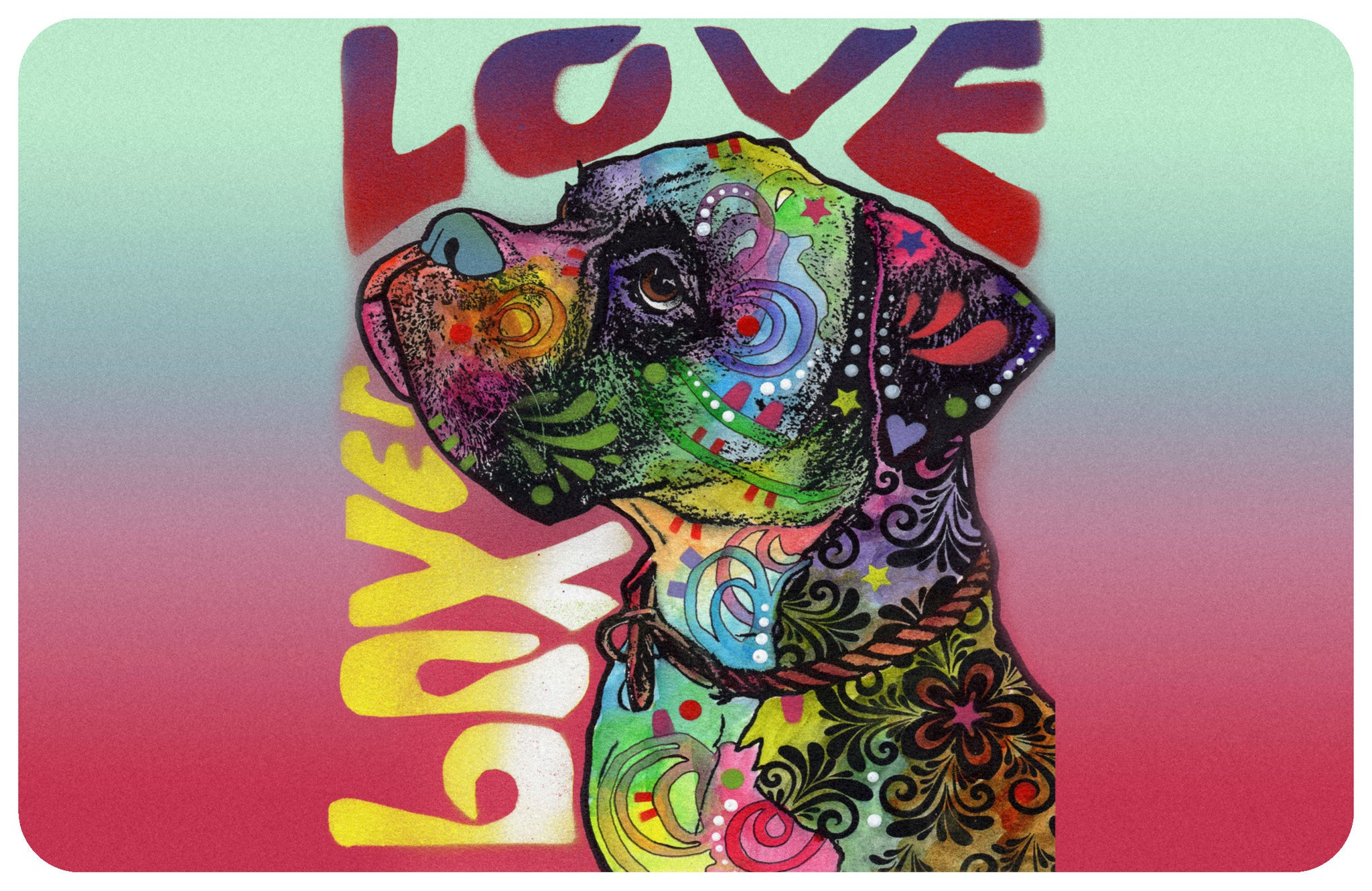 "Boxer Love 23""x36"" Accent Mat by Dean Russo"