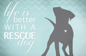 "Better with a Rescue Dog 23""x36"" Accent Mat by Kimberly Glover"