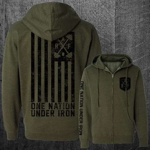 """ONE NATION UNDER IRON"" Grunge Zip Hoodie"