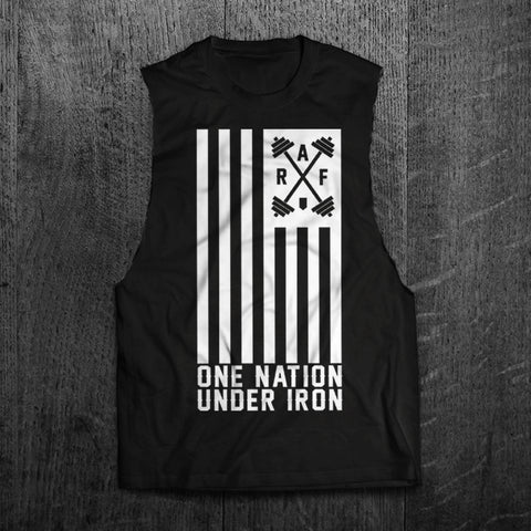 "Original ""ONE NATION UNDER IRON"" Custom Cut Men's Muscle Tank"
