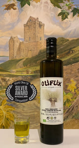 Oliflix Extra Virgin Olive Oil 750ml bottle and glass
