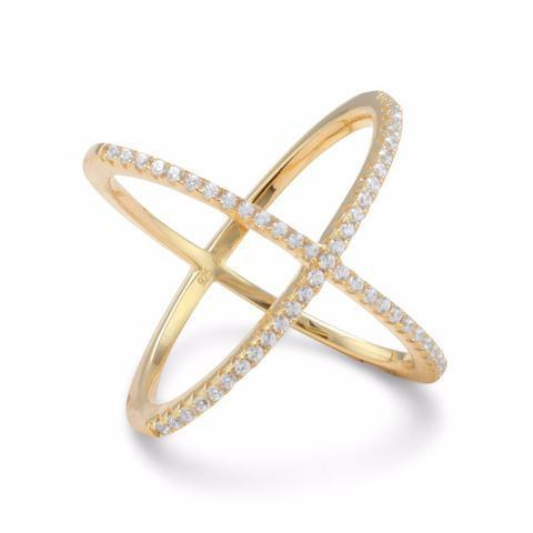 "18 Karat Gold Tone Criss Cross ""X"" Ring Signity Cubic Zirconia Ring from [shop name]"