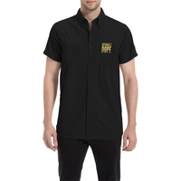 Naturally Dope Black Short Sleeved Collared Button Up Dress Shirt