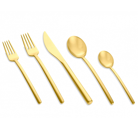 MEPRA S.p.A. - Due Ice Oro Flatware Collection - Brushed Gold Stainless Steel / 5 Piece Place Setting - Lekker Home