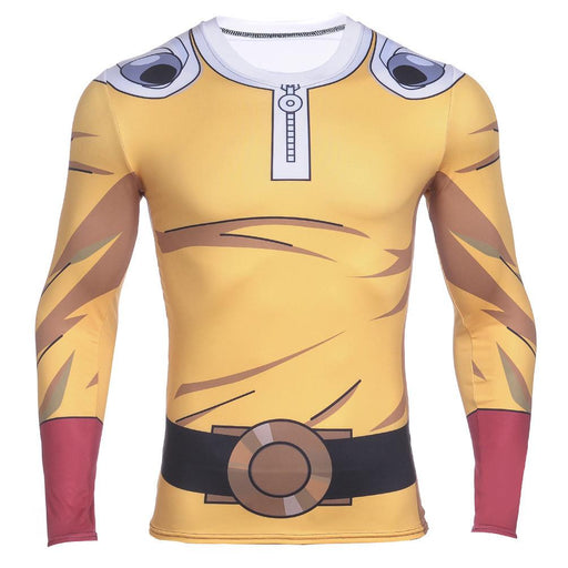 One-Punch Man Saitama Jumpsuit Long Sleeves Gear Compression 3D Shirt - Konoha Stuff