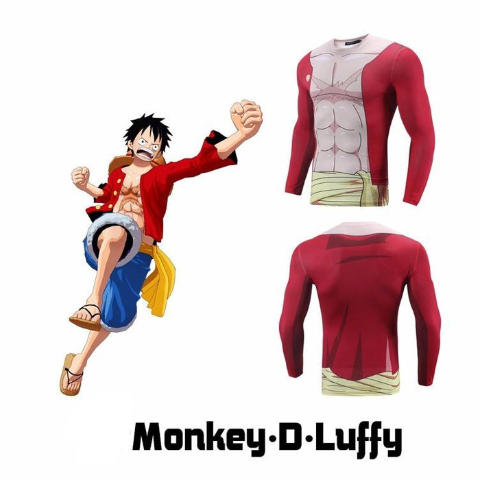 One Piece Monkey D. Luffy Outfit Long Sleeves Gym Compression 3D Shirt - Konoha Stuff