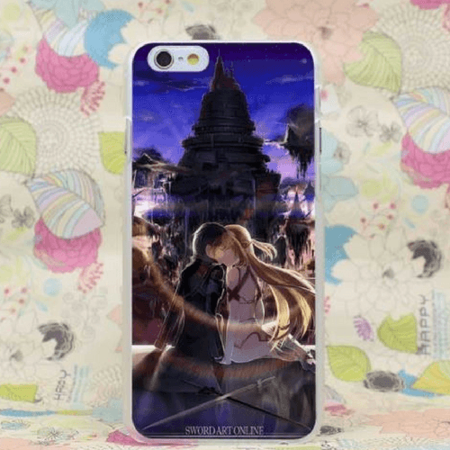 Sword Art Online SAO Kirito Asuna Kissing Romantic Art iPhone 4 5 6 7 8 X XR XS Max Plus Case
