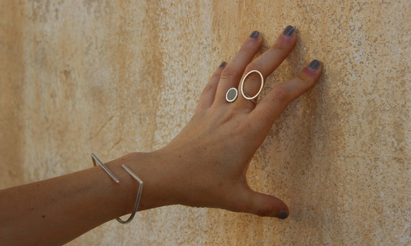 Asymmetrical Circles Concrete Ring and Lines Bracelet by  BAARA Jewelry