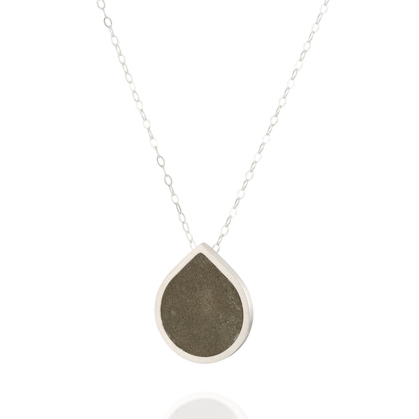 Drop Concrete Necklace, by BAARA Jewelry. Elegant Necklace, Tear Drop Necklace, Sterling Silver Necklace, Classic with a Twist, Cement Pendant