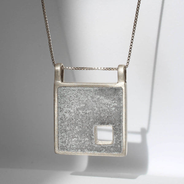 Peeckaboo Square Concrete Necklace, by BAARA Jewelry, Cement Necklace, Cement Jewelry, Beton, Square Pendant, Minimal Necklace, Geometric Pendant, Gift for Archietect, Made in Israel