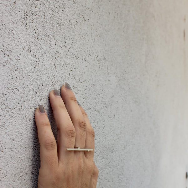 Line Ring, by BAARA Jewelry. Minimalist Ring, Bar Ring, Asymmetrical Ring, Two Fingers Ring, Silver Ring, Minimal Silver Ring, Geometric Ring