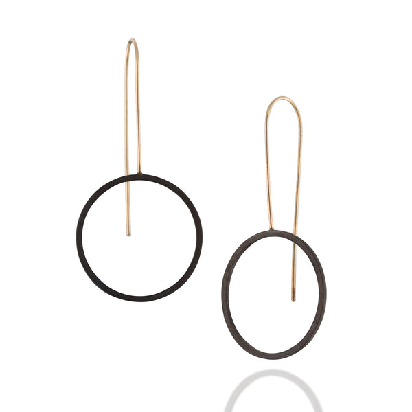 Minimalist Long Black and Gold Circle Earrings, Black Jewelry, Geometric Earrings, Goldfield