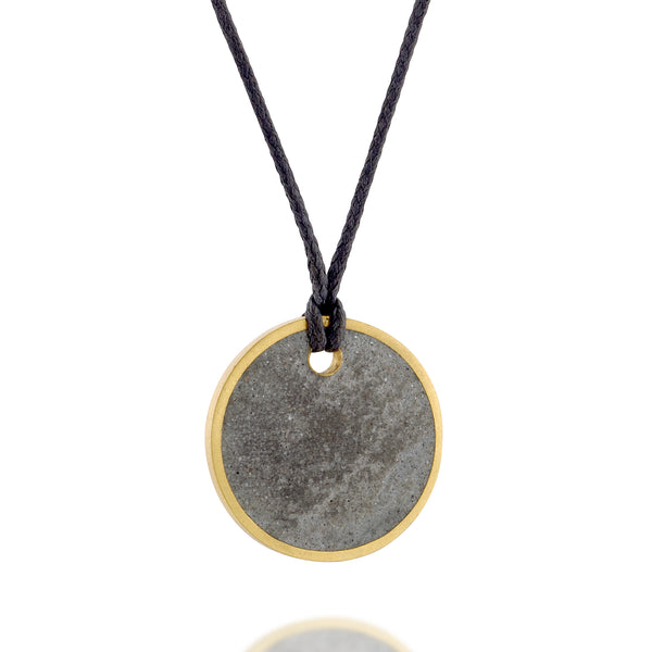 Unisex Gold and Concrete Necklace, by BAARA Jewelry. Unisex Circular Simple Pendant on a Black String