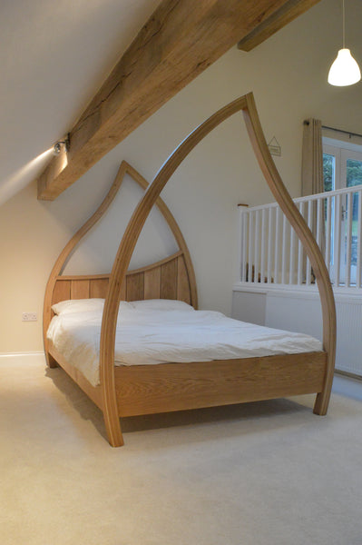 Custom made solid oak four poster bed bed