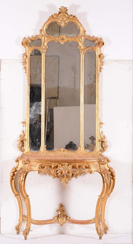Large 19th Century Italian Giltwood Console Table with Mirror