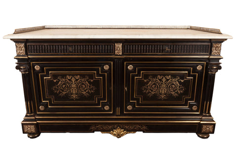 A Superb French Napoleon III Ebony and Gilt Mounted Commode