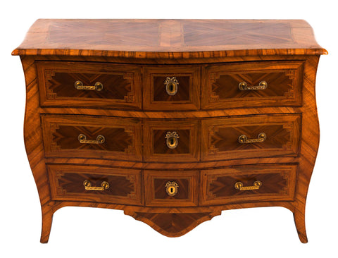 Beautiful elegant antique bombe shaped commode with three drawers