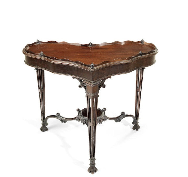 Heart shaped antique mahogany silver display table