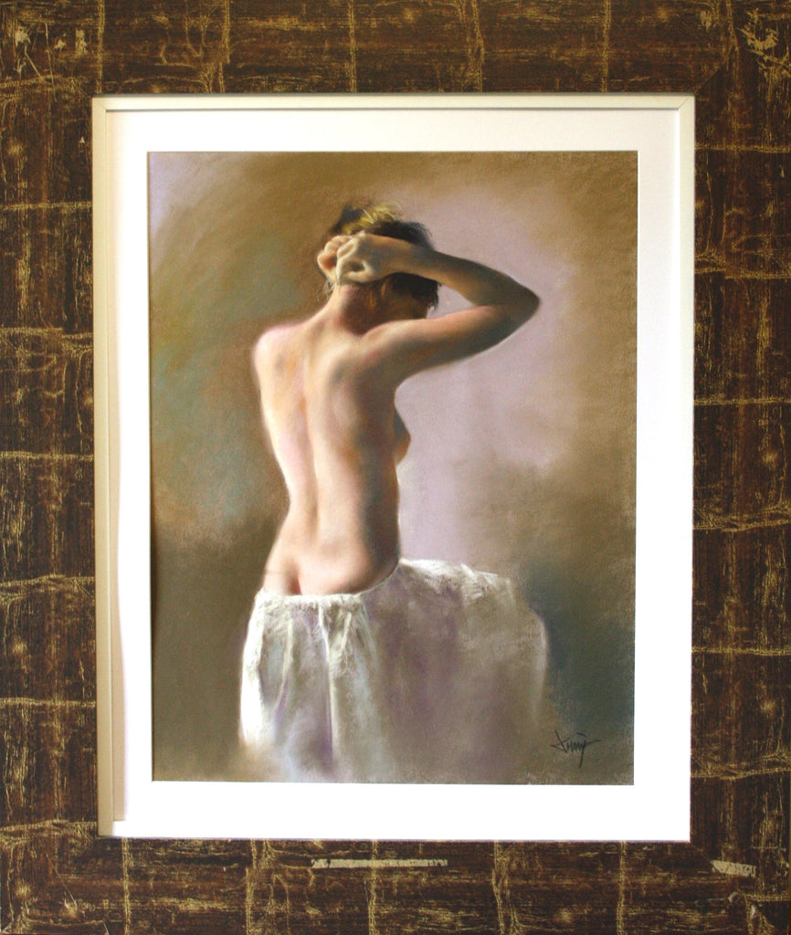 Beautiful Nude study in soft Pastel tones by Spanish living artist Domingo Alvarez Gomez on display at Garners Fine Art in Uppingham UK