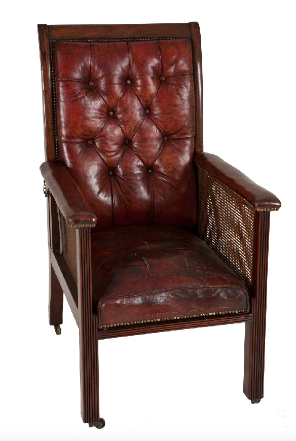 antique ox blood leather button back desk chair