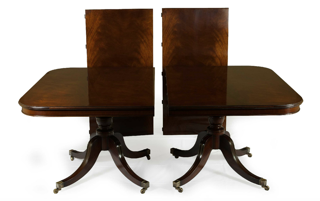 antique twin pedestal mahogany dining table