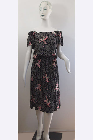 1950s Cherry Blossom Rayon Print Dress