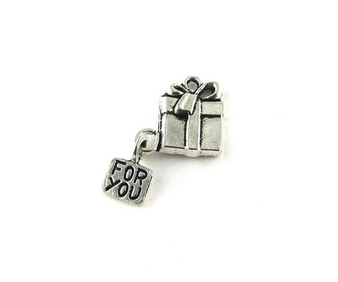 "Present ""For You"" Antique Silver Charm"